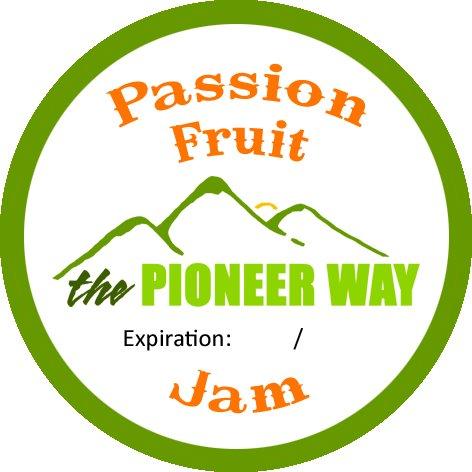 Custom designed passion fruit jam sticker from moo.com