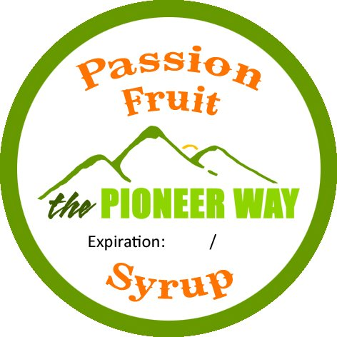 Custom designed passion fruit syrup sticker from moo.com