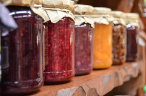 Canning jars full of preserves